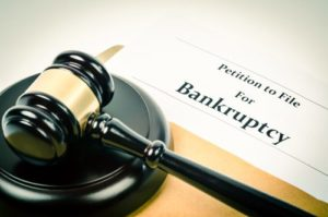 gavel above a bankruptcy form